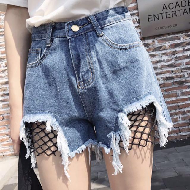 網狀牛仔褲