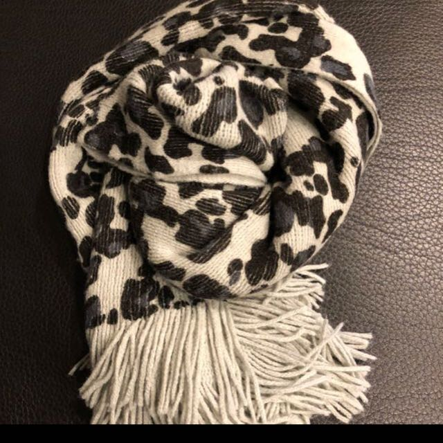 豹紋針織圍巾(免運)