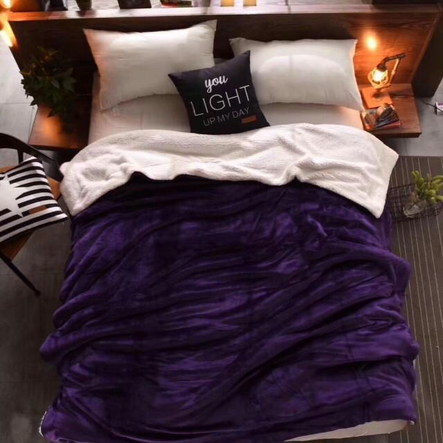純色雙層加厚法蘭絨羊羔毯(羅蘭紫)