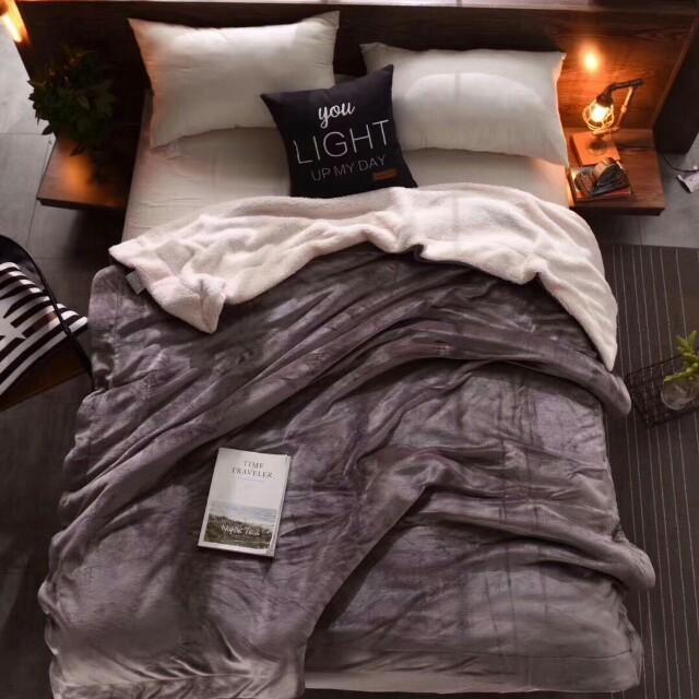 純色雙層加厚法蘭絨羊羔毯(時尚灰)