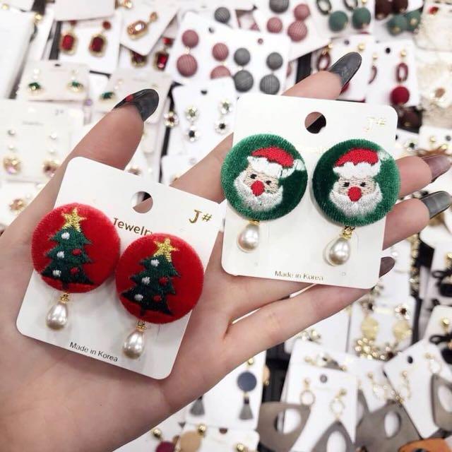 正韓版毛絨絨聖誕節耳環