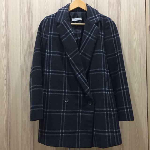 [二手] 正韓 格紋中長大衣