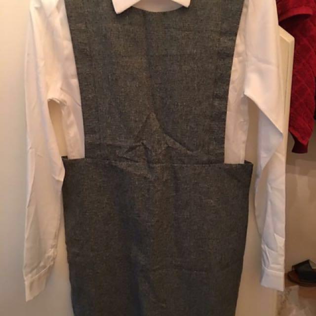韓 全新 白襯衫+淺灰裙套裝 可分開搭配、自行內搭配 #我的女裝可超取