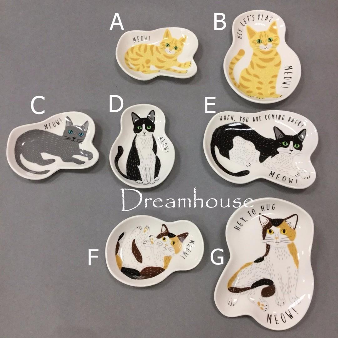 日本帶回 貓咪造型 陶瓷 小碟子 點心碟 小盤子 醬料碟