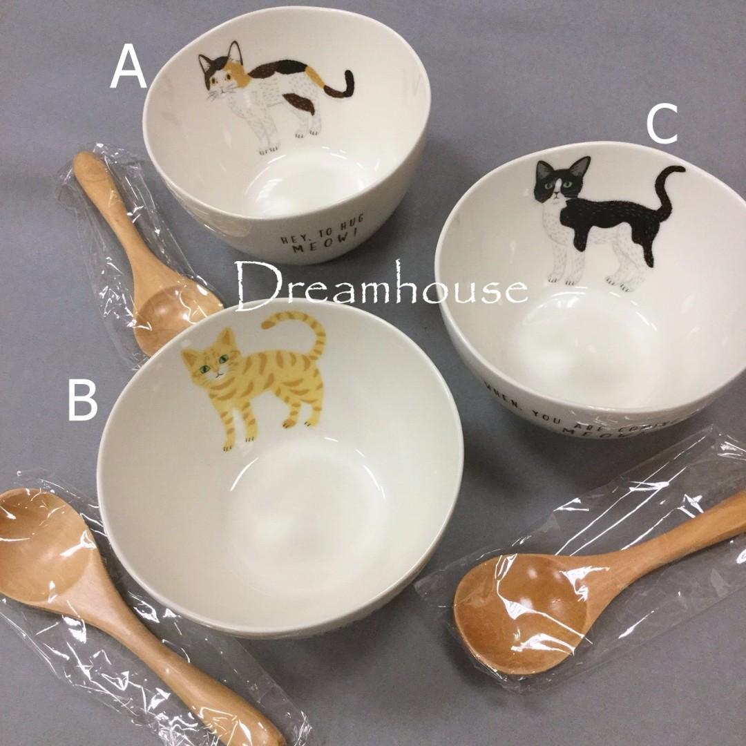 日本帶回 貓咪造型 陶瓷 碗 餐碗 碗公 飯碗+湯匙 餐具組