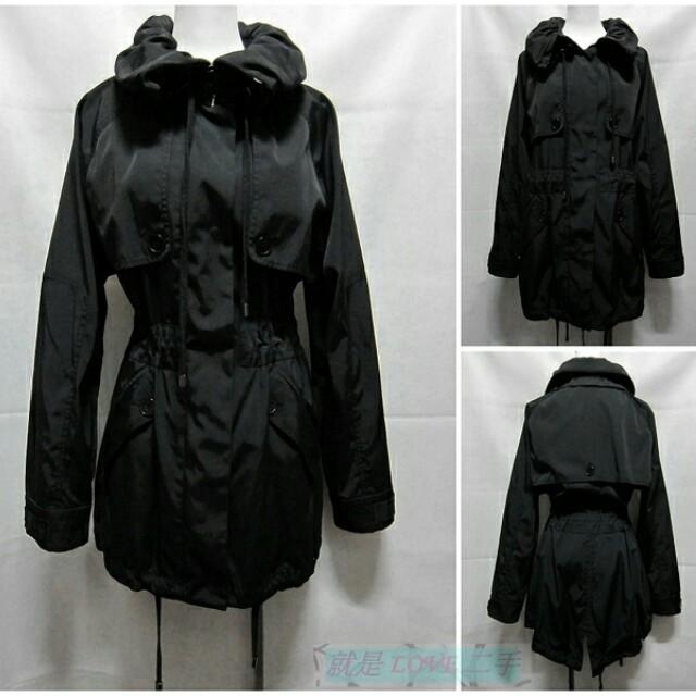 {就是愛二手} 美國品牌 Kenneth Cole New York 黑色 排釦+拉鍊設計 寬鬆長版 多穿式尼龍風衣外套