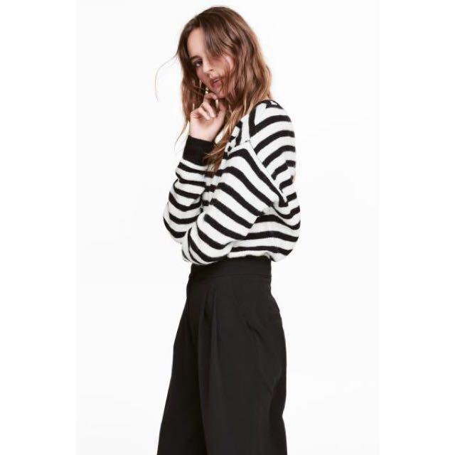 美國購回🇺🇸 H&M 黑白條紋寬袖圓領顯瘦毛衣針織衫上衣