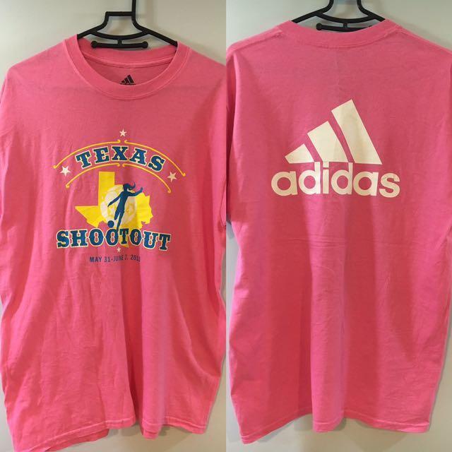 💯日本 Vintage 古着 adidas  粉色 大T  短袖 上衣 T恤 寬鬆 顯瘦  Shootout