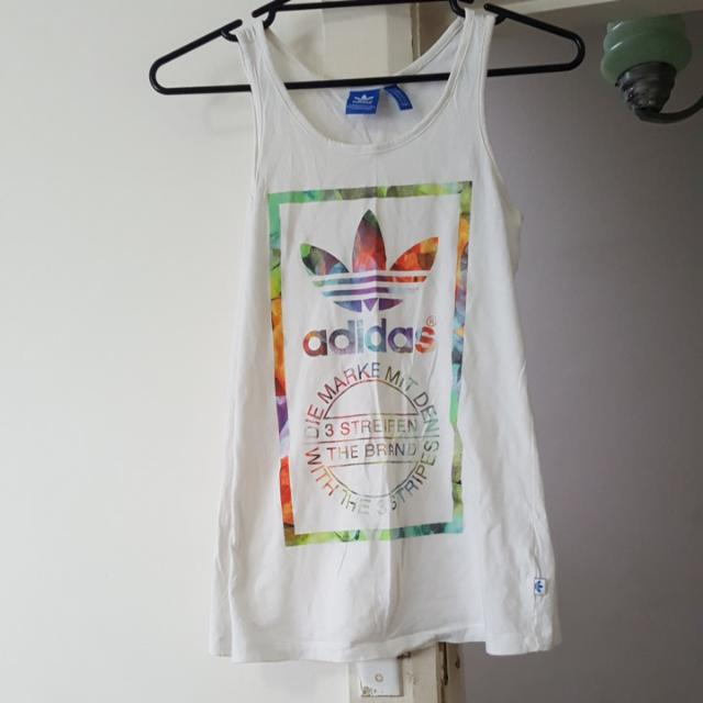 Adidas White tank top with colourful print