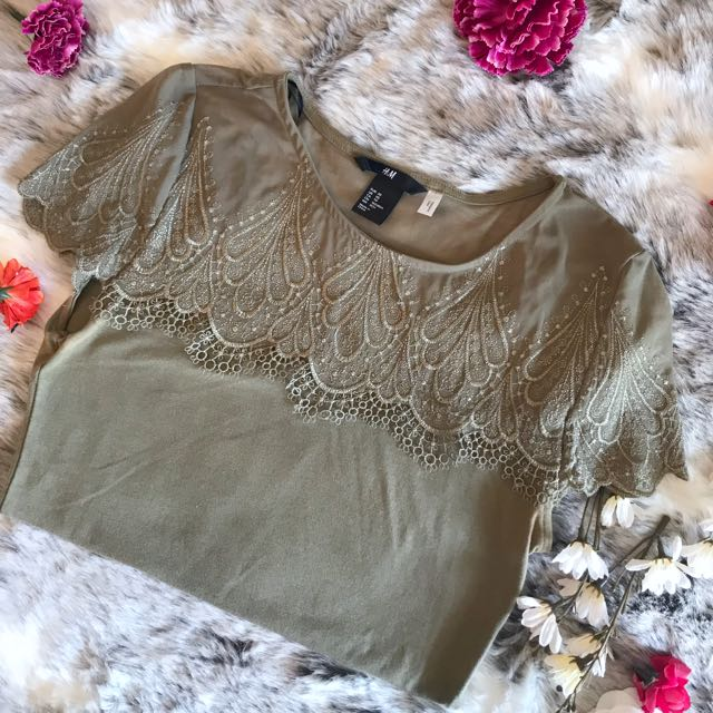 Army Green Lace T-Shirt