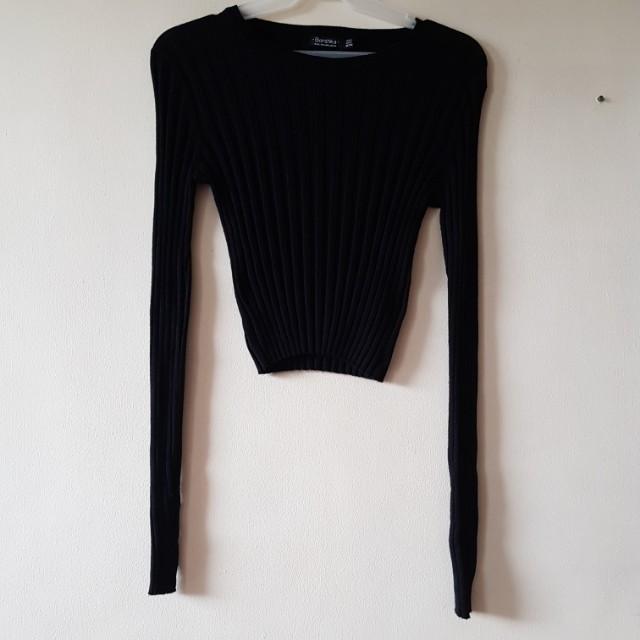 BERSHKA crop knit sweater