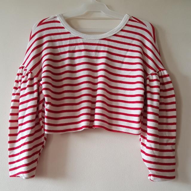 BERSHKA crop striped knit sweater