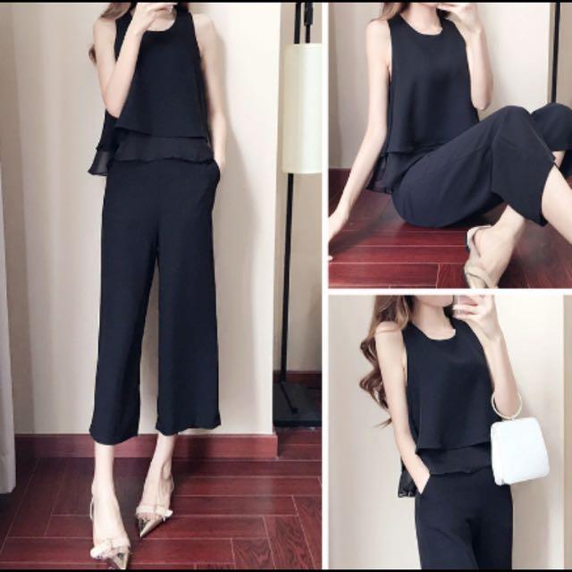 Black 2 Piece Romperjumpsuitsemi Formal Set Womens Fashion