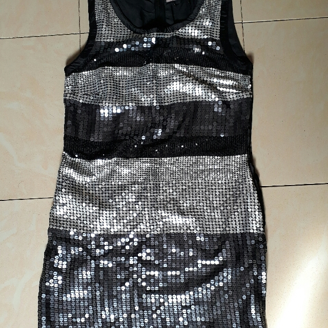 Black Sequined Party Dress - Large