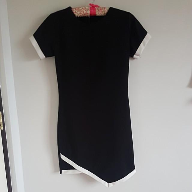 Black/White Straigh-cut Dress