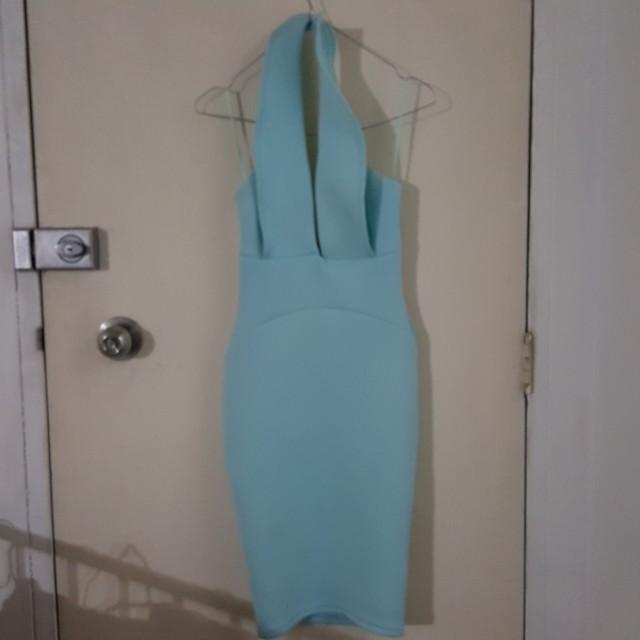 Blue xxs/6 plunge neck neck dress very flattering!