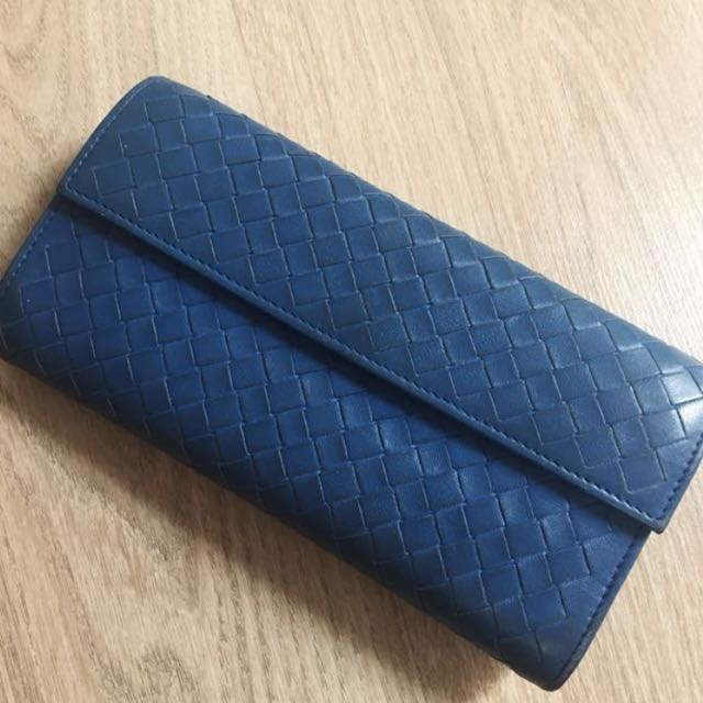 Bottega Veneta BV 正品壓扣長夾 藍色