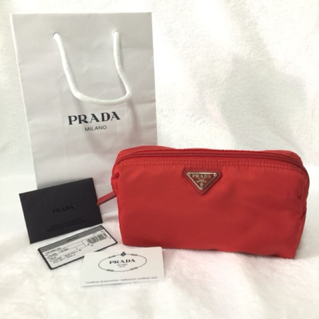 BRAND NEW AUTHENTIC PRADA COSMETIC POUCH IN RED—medium