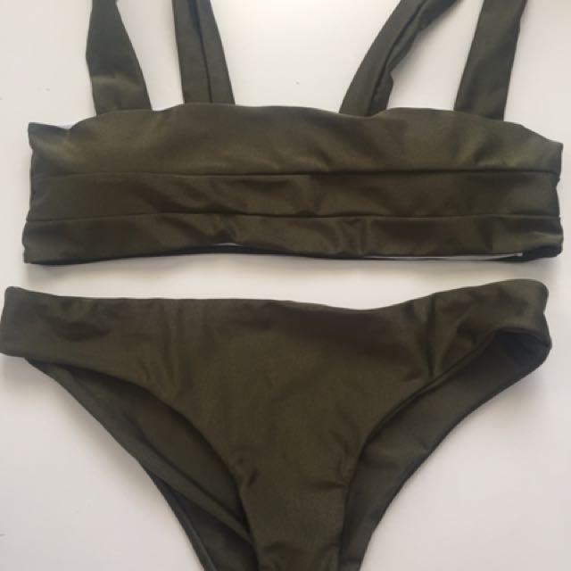 brand new bikini set khaki