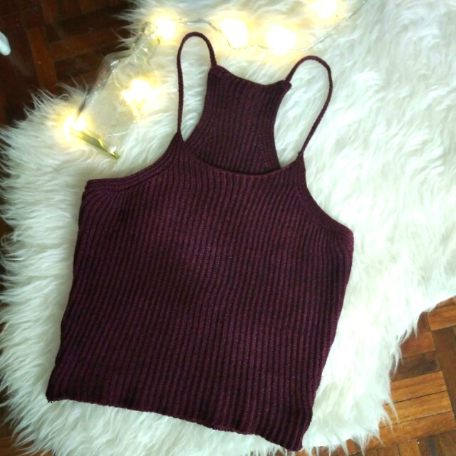 Brandy Melville Inspired Maroon Knitted Crop Top