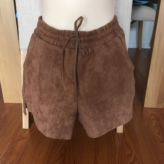 Brown fluffy shorts