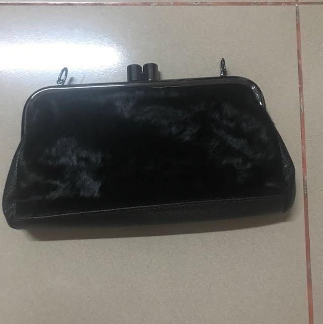 Clutch Bag Black Fur Free Ongkir