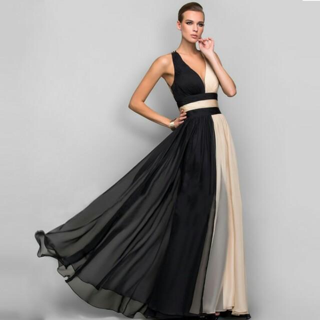Color Block Deep V Neck Chiffon Evening Gown