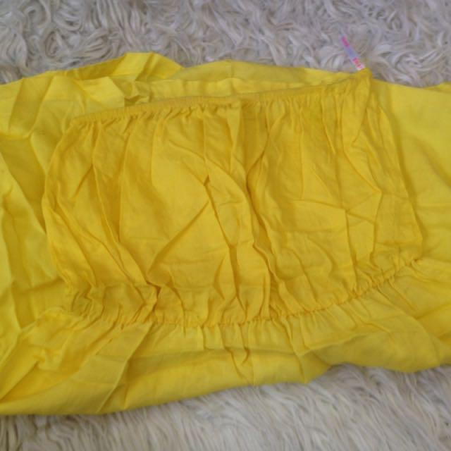 Cute Yellow Summer Strapless Top
