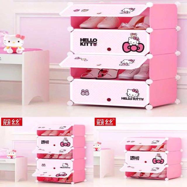 diy hello kitty shoe rack wardrobe cabinet home. Black Bedroom Furniture Sets. Home Design Ideas