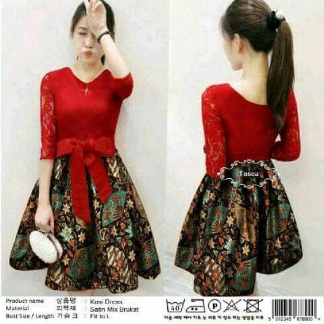 Dress polka batik/dress natal murah/dress pesta murah/dress murah