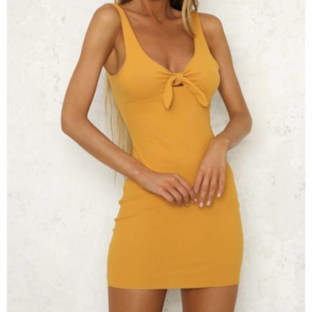 Dress size 8 in mustard