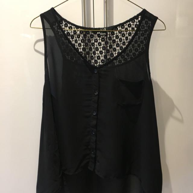 F21 black tank top blouse size L