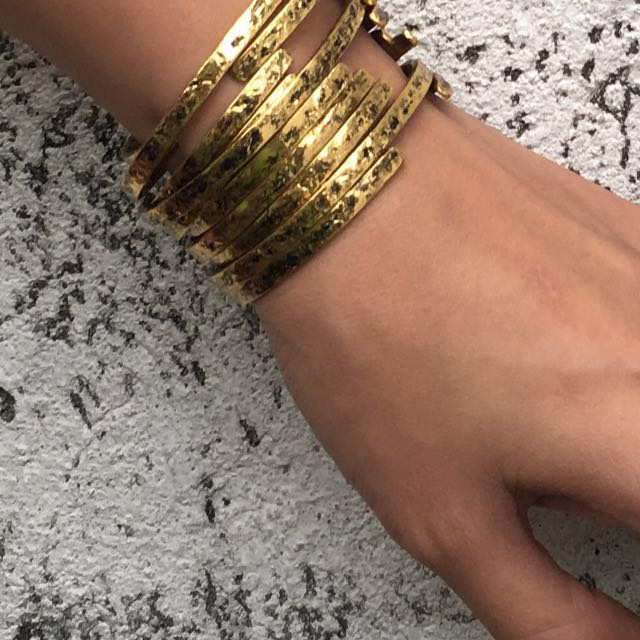 Flat Zinc Alloy Cuff Bangle Bracelet (Non-tarnish)