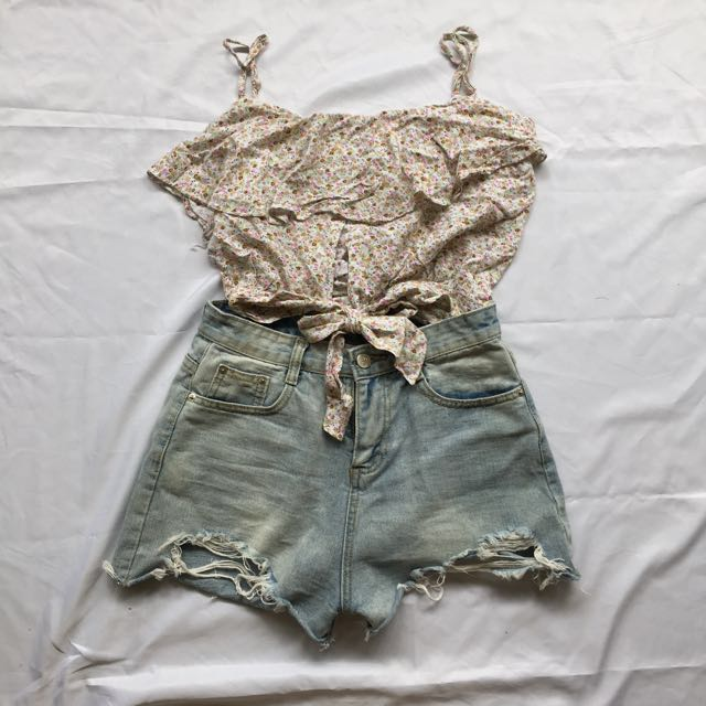 Floral Frilled Cut Out Crop Top