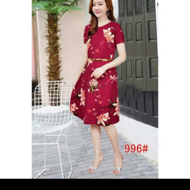 floral maroon dress with belt