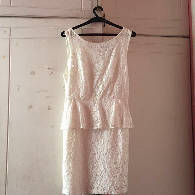 Forever 21 White Peplum Dress