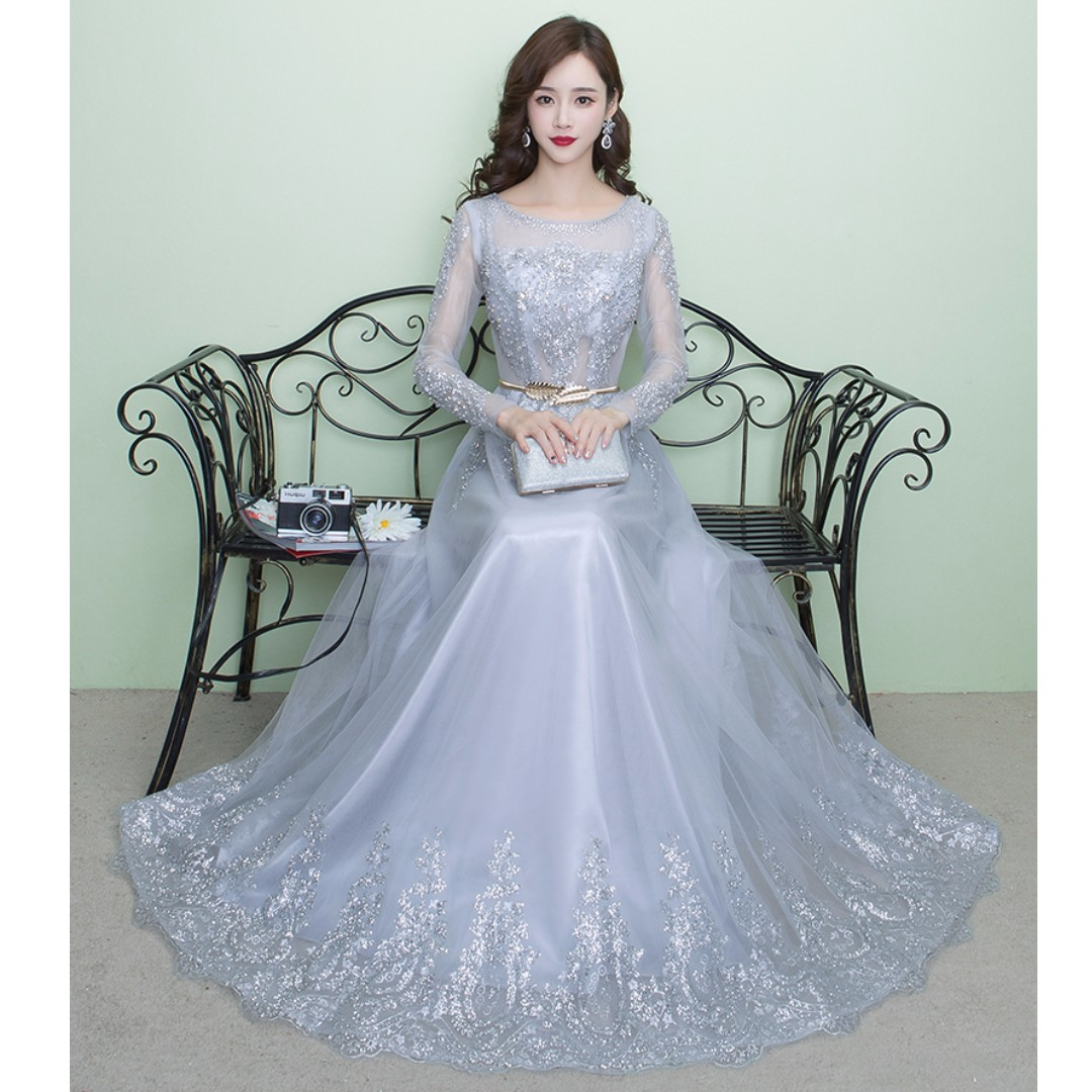 Gown Collection - Charming Shining Star Long Sleeves Grey Evening ...