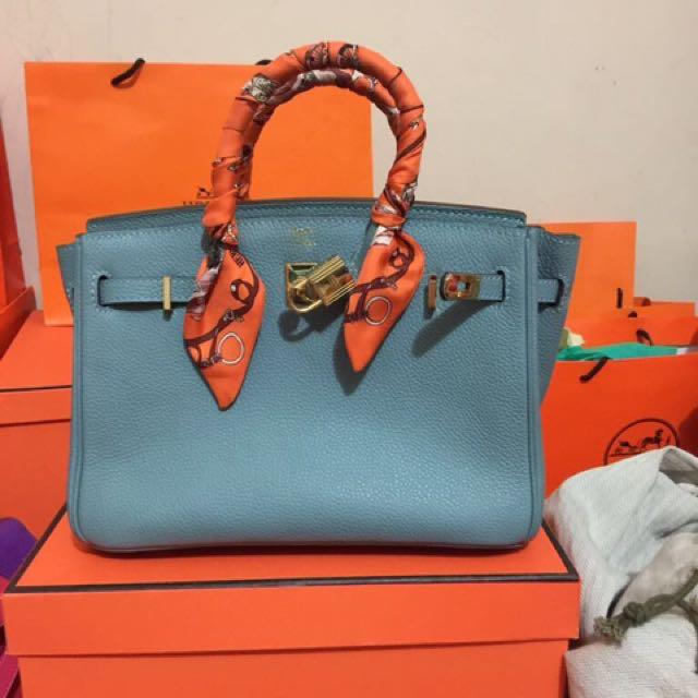 Hermes Birkin Blue Size 25 Ghw Mirror Quality 1,2 Full Set