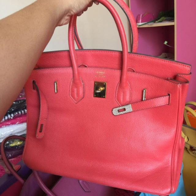 Hermes Birkin Diamond Size 35 Red Premium Quality