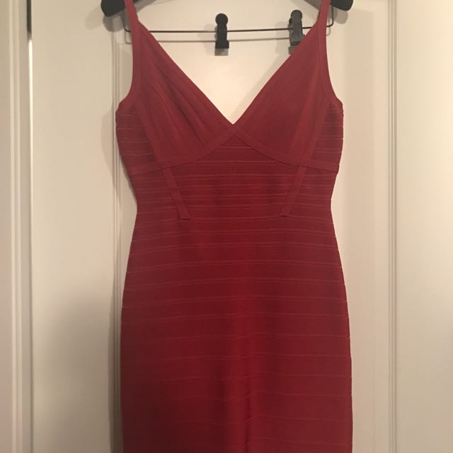 Herve ledger red dress