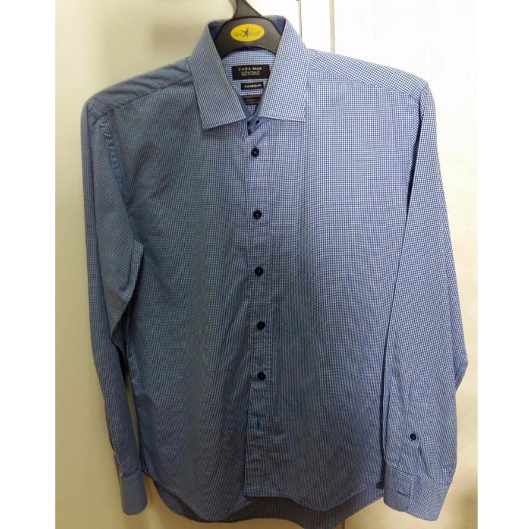 Kemeja Zara Man Biru Kotak Kotak tailored fit size M