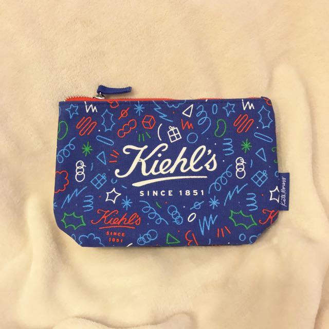 KIEHL'S 契爾氏 2017 限量帆布化妝包 藍色