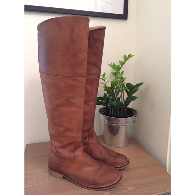 Knee Tan Leather Boots - D.co Copenhagen