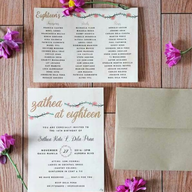 kraft invitations birthday invitation debut wedding floral