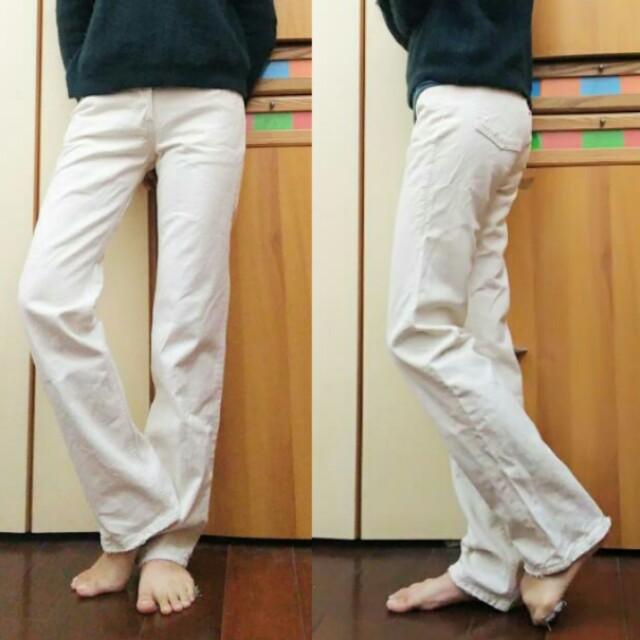 levis501 vintage 古著 米白 小喇叭 牛仔褲
