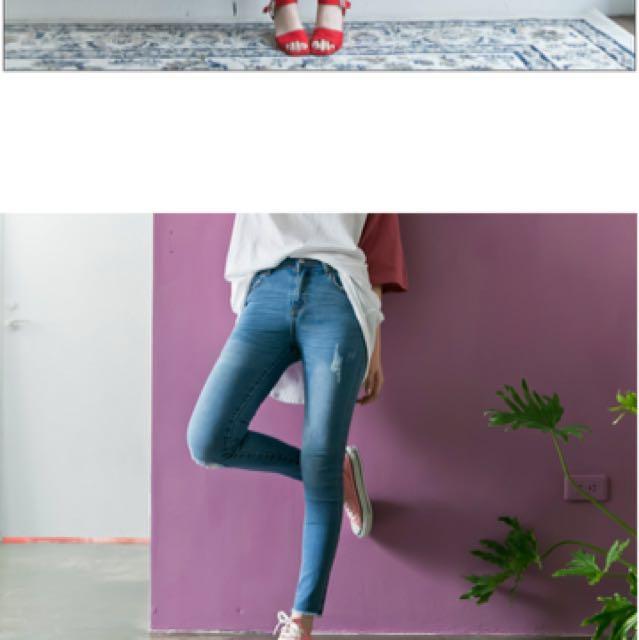 Lulus 全新淺藍牛仔長褲