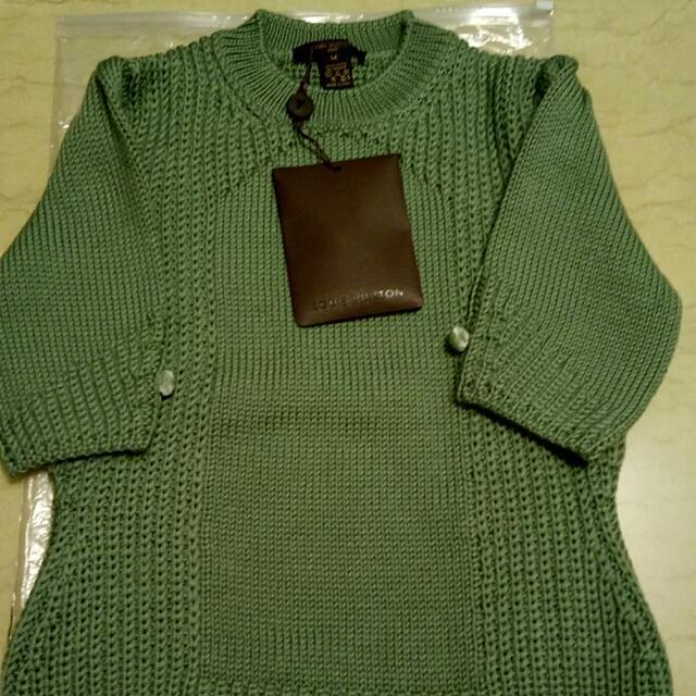 LV 短袖羔羊毛衣亮綠色  M