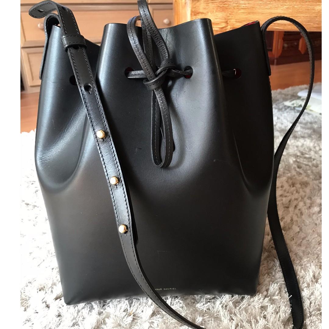 Mansur Gavriel Bucket Bag in Black/Flamma