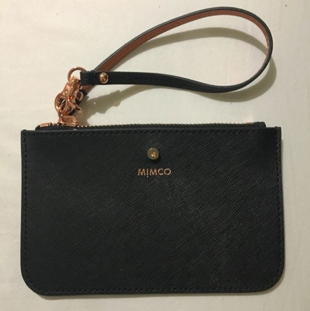 Mimco Black And Rose Gold Pouch