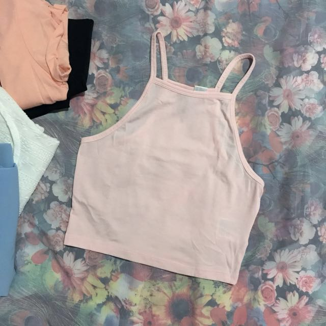 New H&M Basic Crop Halter Tank Top in Pink
